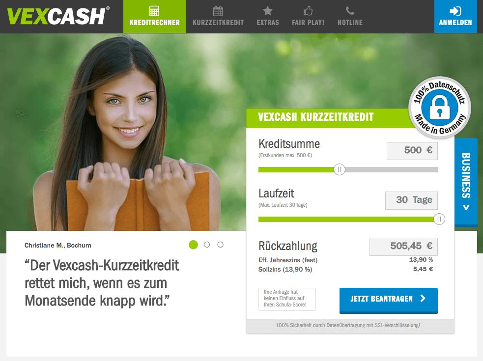 Vexcash Webseite