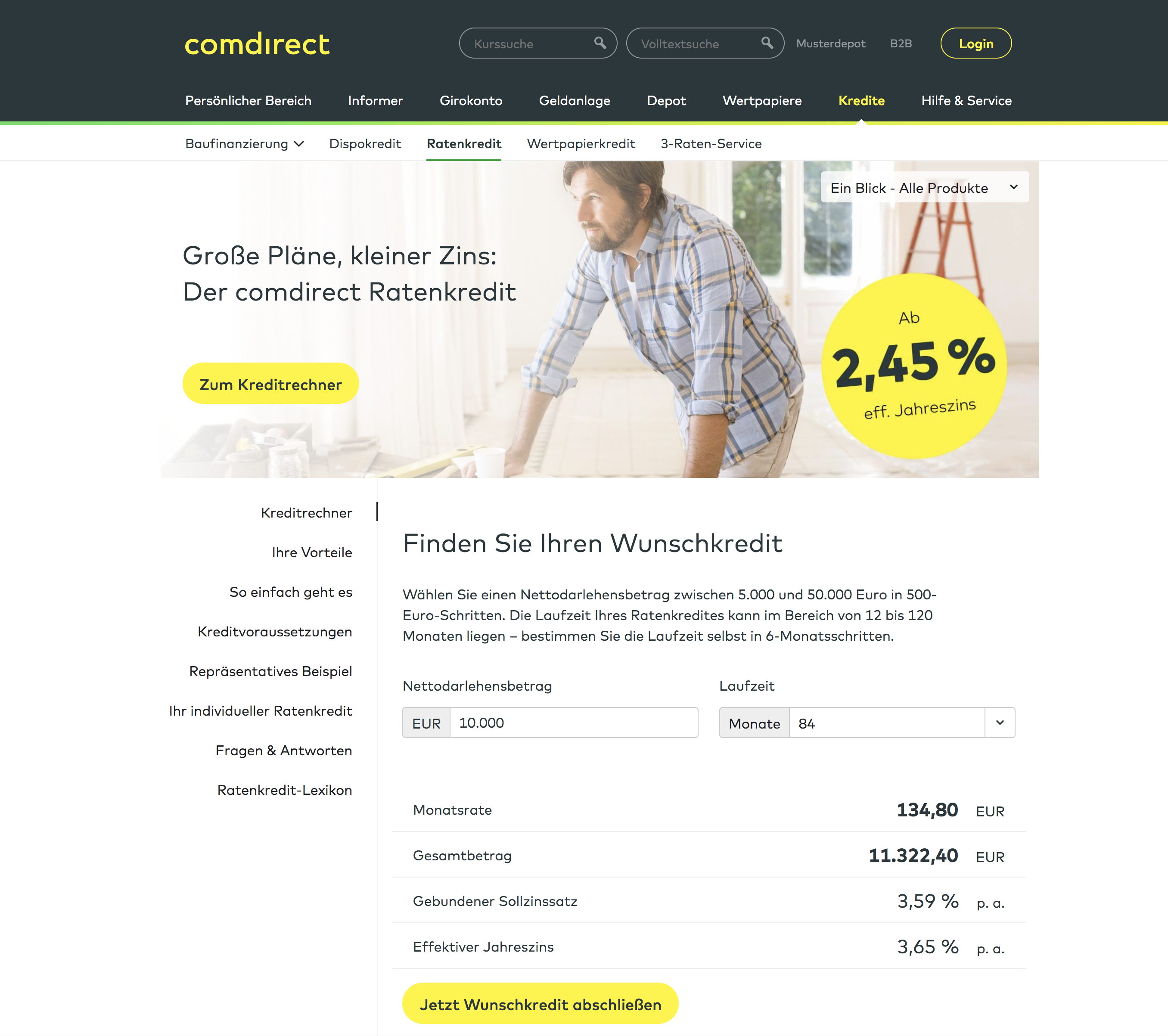 comdirect Ratenkredit
